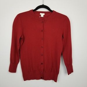 J. Crew the claire cardigan oxblood red
